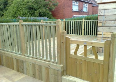 Child friendly decking with fencing and gate, Penistone