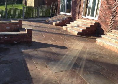 Raj Green Indian Sandstone patio, steps, walls, Worsbrough, Barnsley