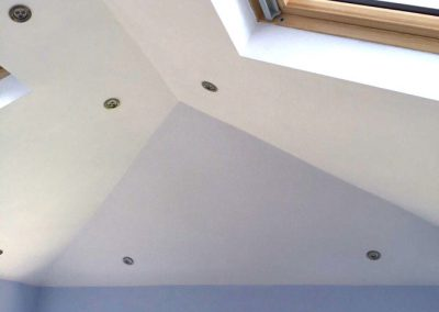 Orangery ceiling with sky lights and interior downlights