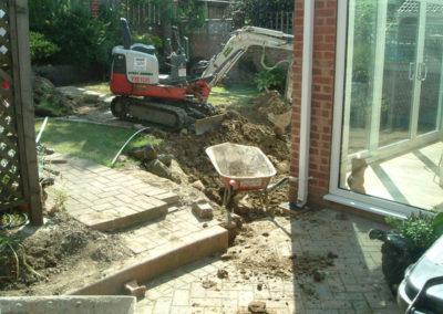 Patio under construction, Cudworth near Barnsley