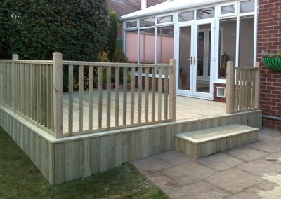 Garden decking for conservatory, Brierley