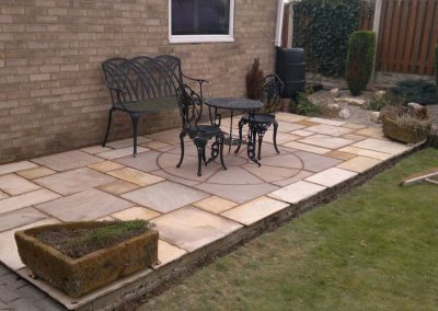 Indian Sandstone patio to replace old wooden decking, Wombwell, Barnsley