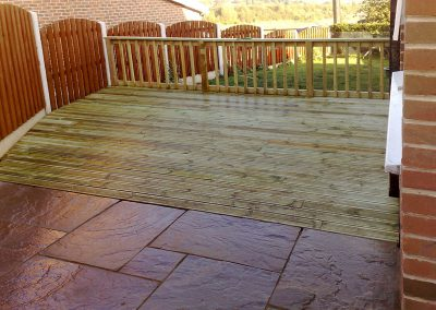 Indian Sandstone paving and garden decking and fencing, Hoyland