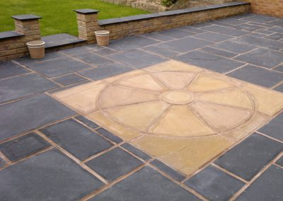 Black Indian Sandstone Paving with Lalipur Indian Sandstone Circle, Monk Bretton