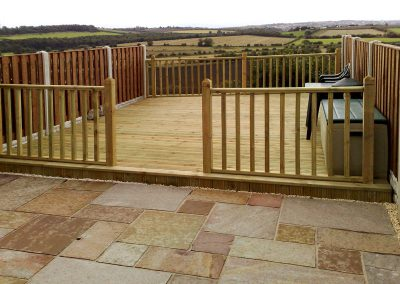 Indian sandstone paving, decking and fencing installed in Cudworth