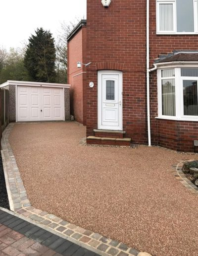 Resin driveway with brick edge detail